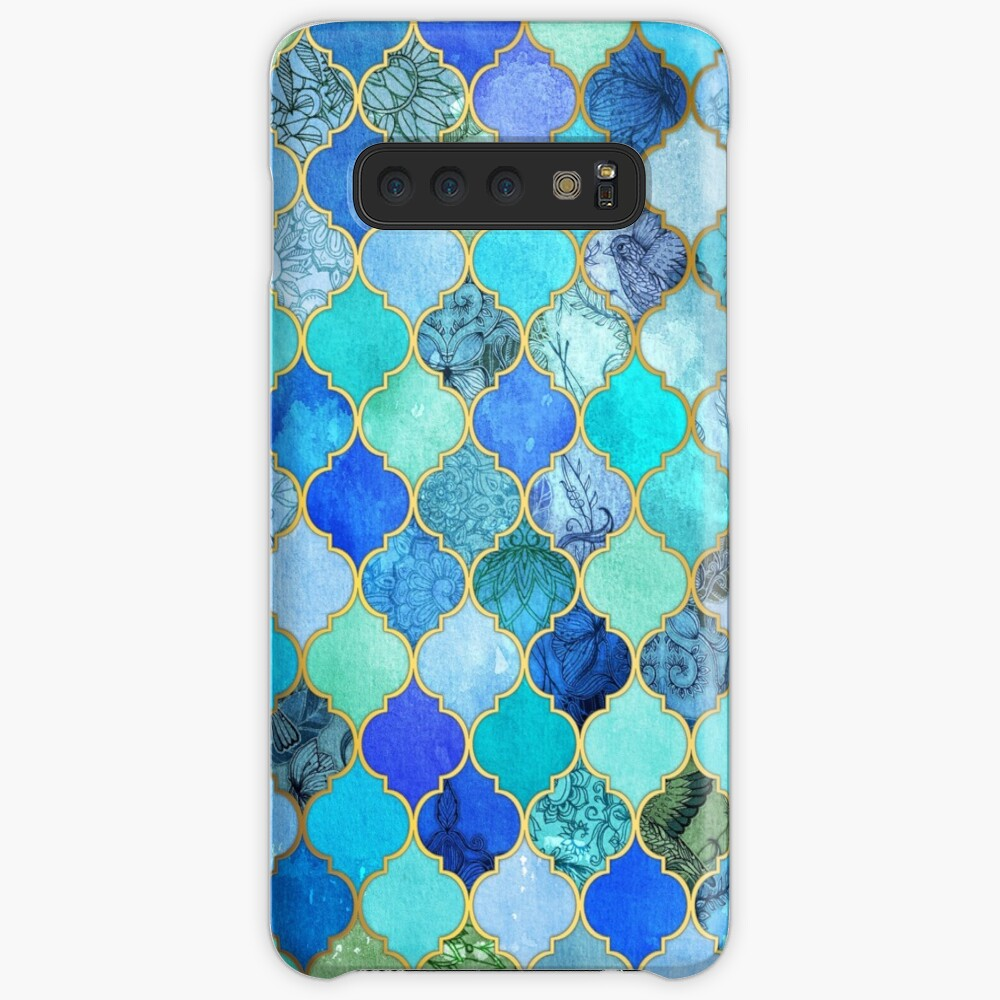 Cobalt Blue, Aqua & Gold Decorative Moroccan Tile Pattern Case & Skin for Samsung Galaxy