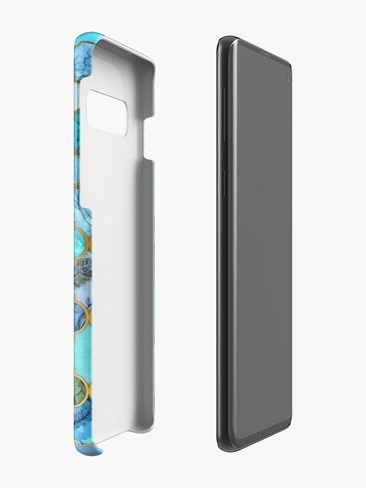 Alternate view of Cobalt Blue, Aqua & Gold Decorative Moroccan Tile Pattern Case & Skin for Samsung Galaxy