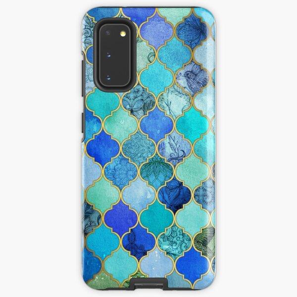 Cobalt Blue, Aqua & Gold Decorative Moroccan Tile Pattern Samsung Galaxy Tough Case