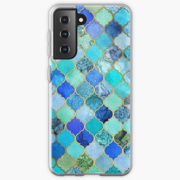 Cobalt Blue, Aqua & Gold Decorative Moroccan Tile Pattern Samsung Galaxy Soft Case