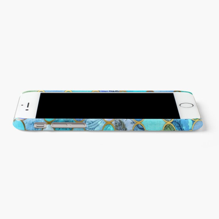 Alternate view of Cobalt Blue, Aqua & Gold Decorative Moroccan Tile Pattern iPhone Case & Cover