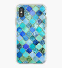 Kobaltblau, Aqua & Gold Dekorative marokkanische Fliesenmuster iPhone-Hülle & Cover