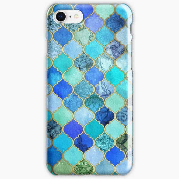 Cobalt Blue, Aqua & Gold Decorative Moroccan Tile Pattern iPhone Snap Case