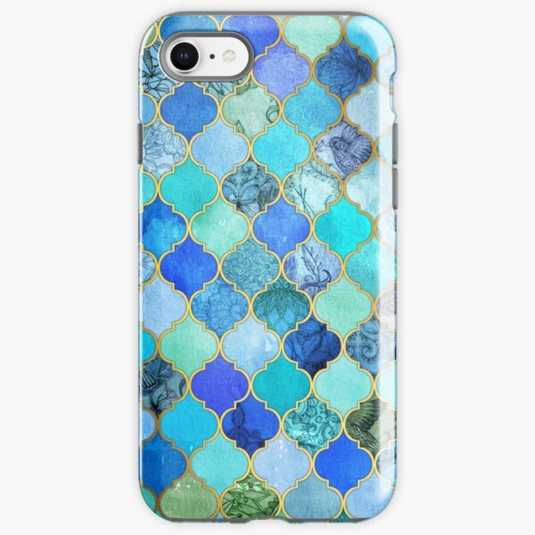 Cobalt Blue, Aqua & Gold Decorative Moroccan Tile Pattern iPhone Tough Case