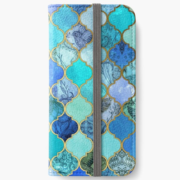 Cobalt Blue, Aqua & Gold Decorative Moroccan Tile Pattern iPhone Wallet
