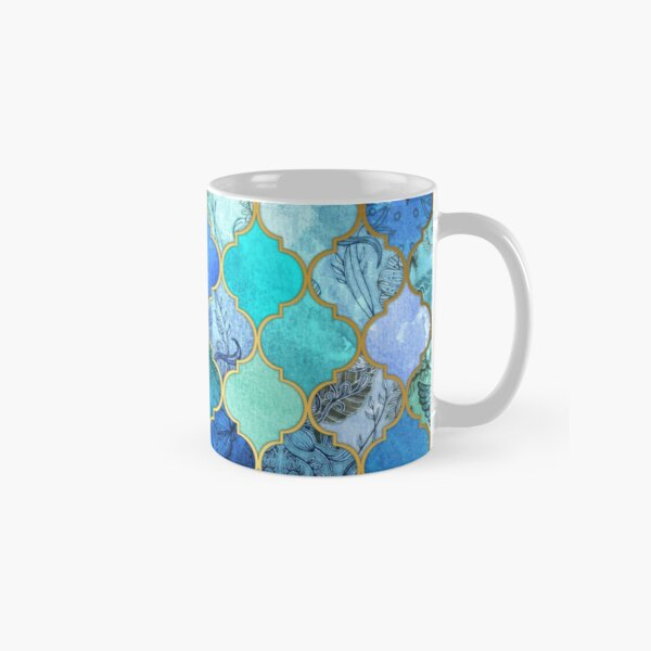 Cobalt Blue, Aqua & Gold Decorative Moroccan Tile Pattern Classic Mug