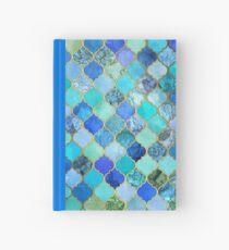 Cuaderno de tapa dura Cobalto azul, aguamarina y oro decorativo marroquí azulejo patrón