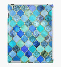 Vinilo o funda para iPad Cobalto azul, aguamarina y oro decorativo marroquí azulejo patrón