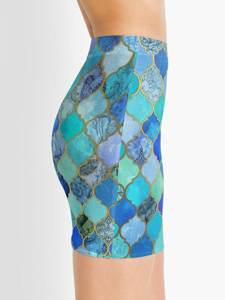 Alternate view of Cobalt Blue, Aqua & Gold Decorative Moroccan Tile Pattern Mini Skirt