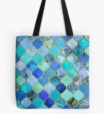 Kobaltblau, Aqua & Gold Dekorative marokkanische Fliesenmuster Tote Bag