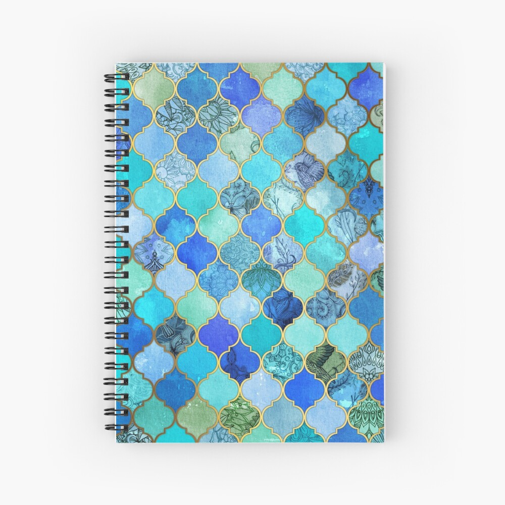 Cobalt Blue, Aqua & Gold Decorative Moroccan Tile Pattern Spiral Notebook
