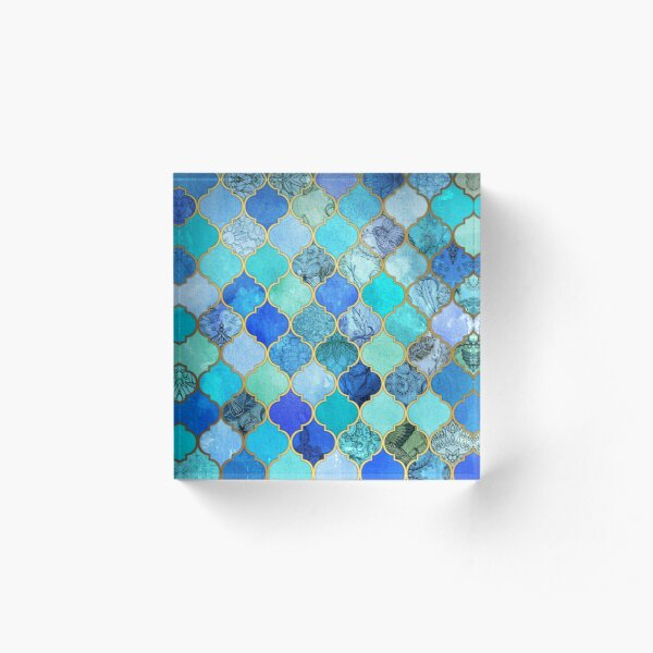 Cobalt Blue, Aqua & Gold Decorative Moroccan Tile Pattern Acrylic Block