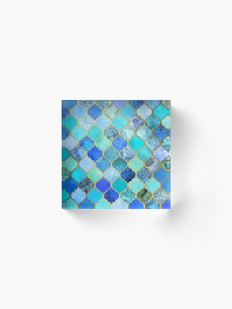 Alternate view of Cobalt Blue, Aqua & Gold Decorative Moroccan Tile Pattern Acrylic Block