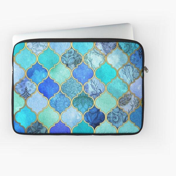 Cobalt Blue, Aqua & Gold Decorative Moroccan Tile Pattern Laptop Sleeve