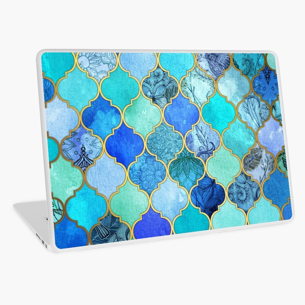 Cobalt Blue, Aqua & Gold Decorative Moroccan Tile Pattern Laptop Skin