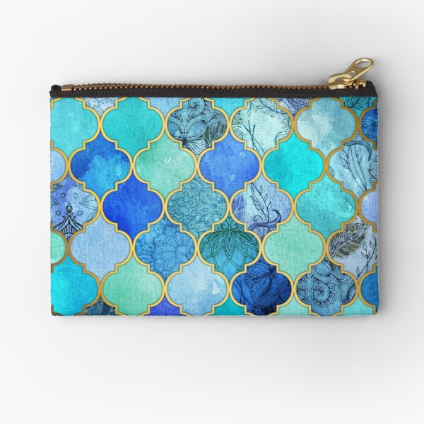 Cobalt Blue, Aqua & Gold Decorative Moroccan Tile Pattern Zipper Pouch