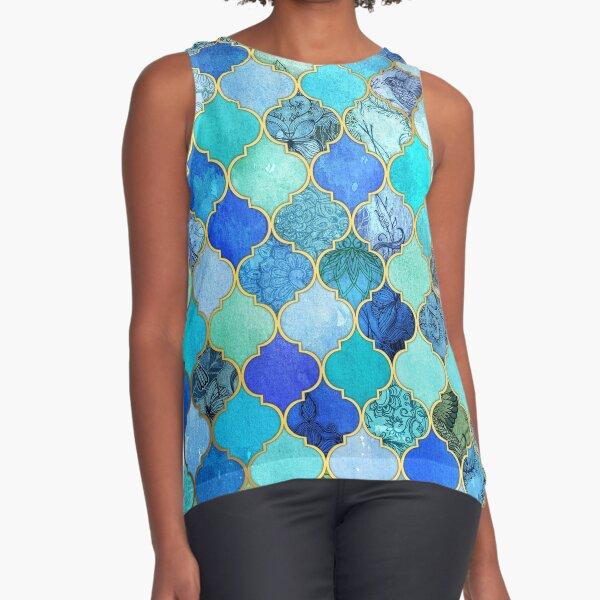 Cobalt Blue, Aqua & Gold Decorative Moroccan Tile Pattern Sleeveless Top