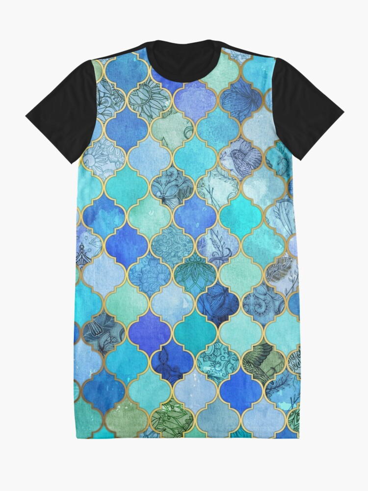 Alternate view of Cobalt Blue, Aqua & Gold Decorative Moroccan Tile Pattern Graphic T-Shirt Dress
