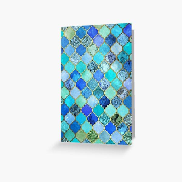 Cobalt Blue, Aqua & Gold Decorative Moroccan Tile Pattern Greeting Card
