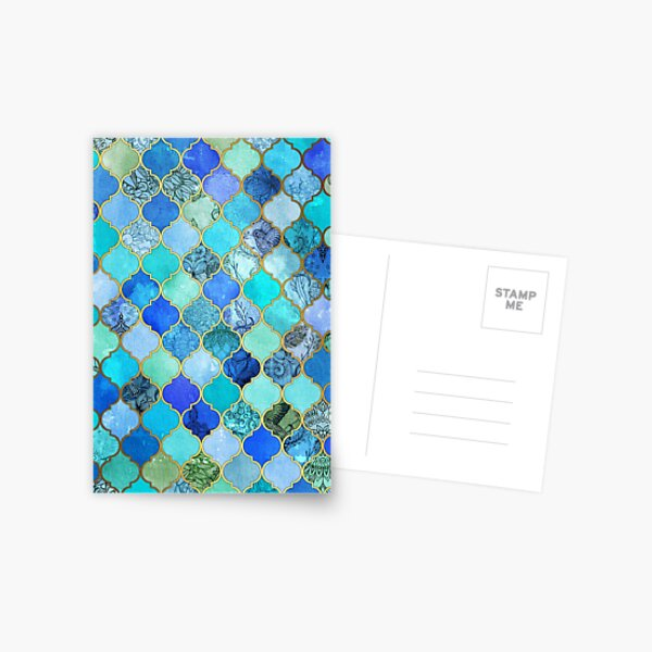 Cobalt Blue, Aqua & Gold Decorative Moroccan Tile Pattern Postcard