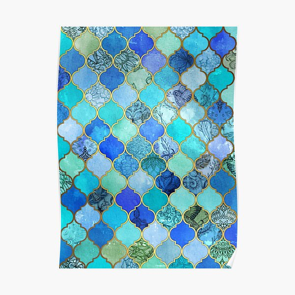 Cobalt Blue, Aqua & Gold Decorative Moroccan Tile Pattern Poster