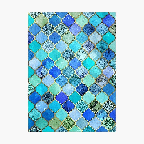 Cobalt Blue, Aqua & Gold Decorative Moroccan Tile Pattern Photographic Print