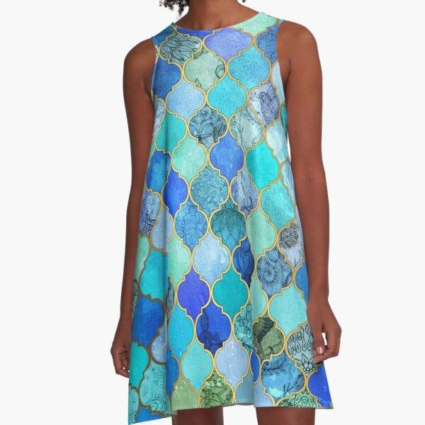 Cobalt Blue, Aqua & Gold Decorative Moroccan Tile Pattern A-Line Dress