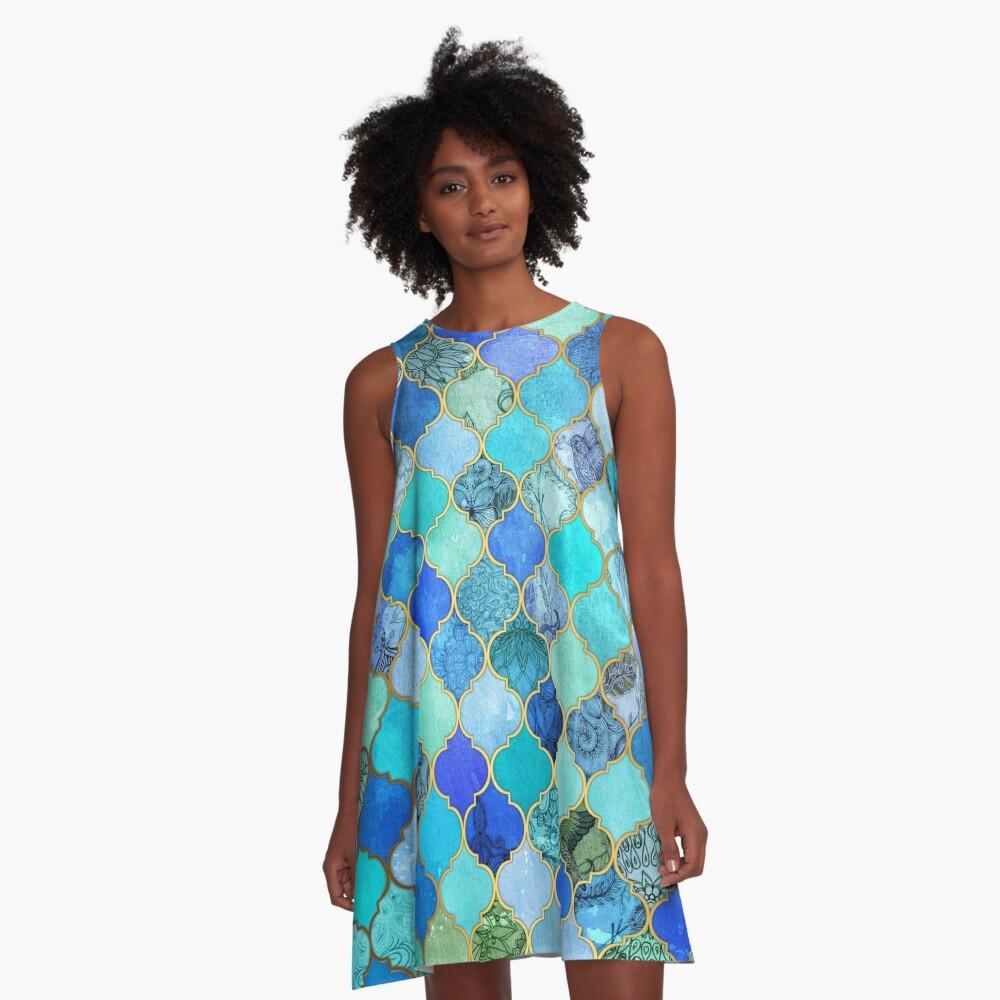 Cobalt Blue, Aqua & Gold Decorative Moroccan Tile Pattern A-Line Dress