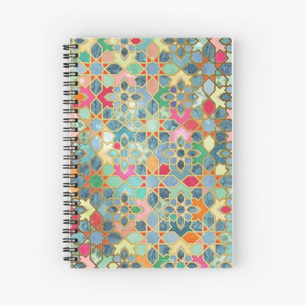 Gilt & Glory - Colorful Moroccan Mosaic Spiral Notebook