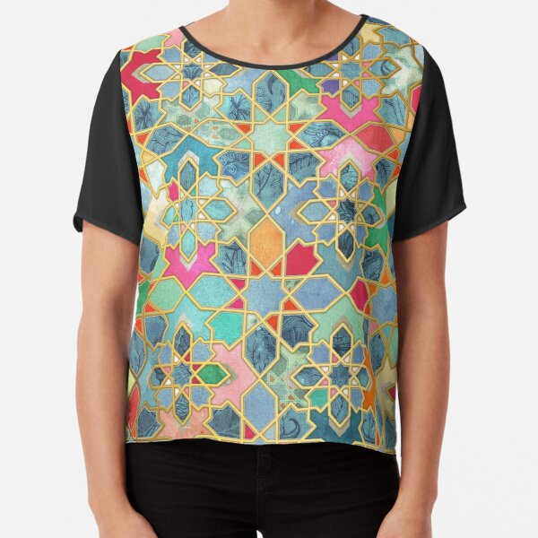 Gilt & Glory - Colorful Moroccan Mosaic Chiffon Top