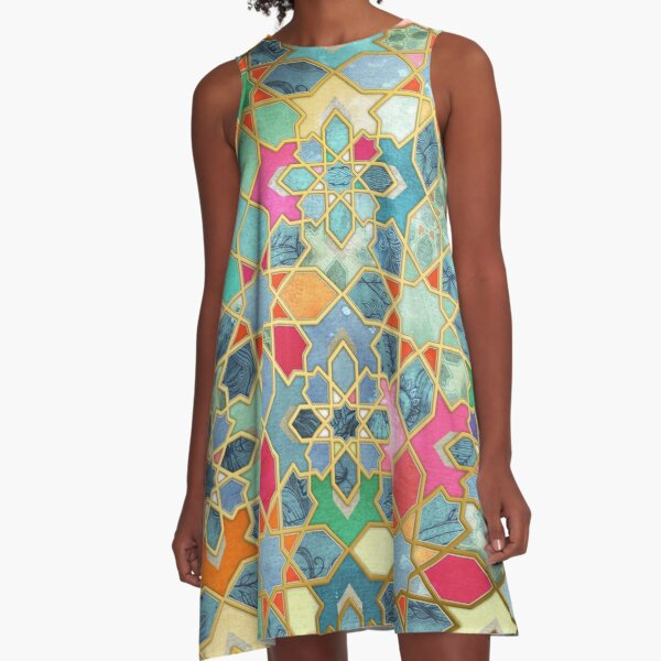 Gilt & Glory - Colorful Moroccan Mosaic A-Line Dress
