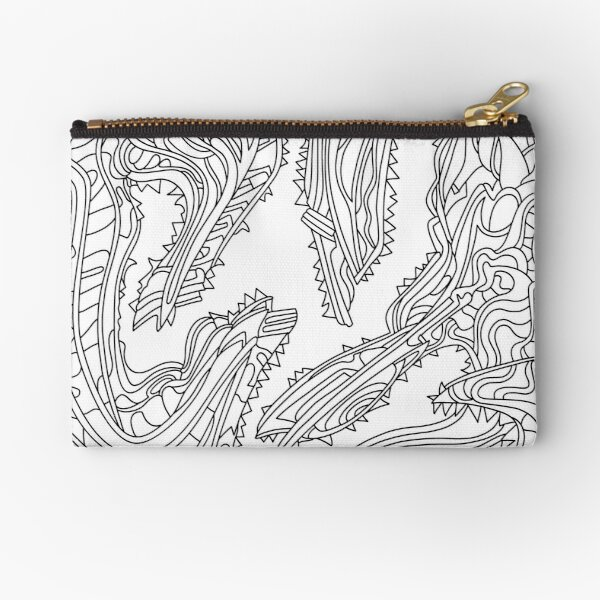 Wandering Abstract Line Art 26: Black & White Zipper Pouch