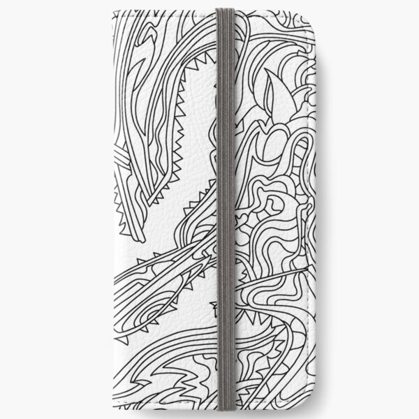 Wandering Abstract Line Art 26: Black & White iPhone Wallet
