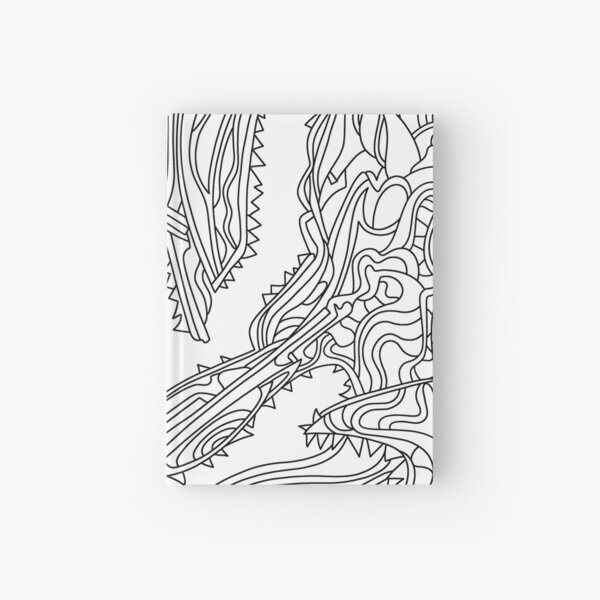 Wandering Abstract Line Art 26: Black & White Hardcover Journal