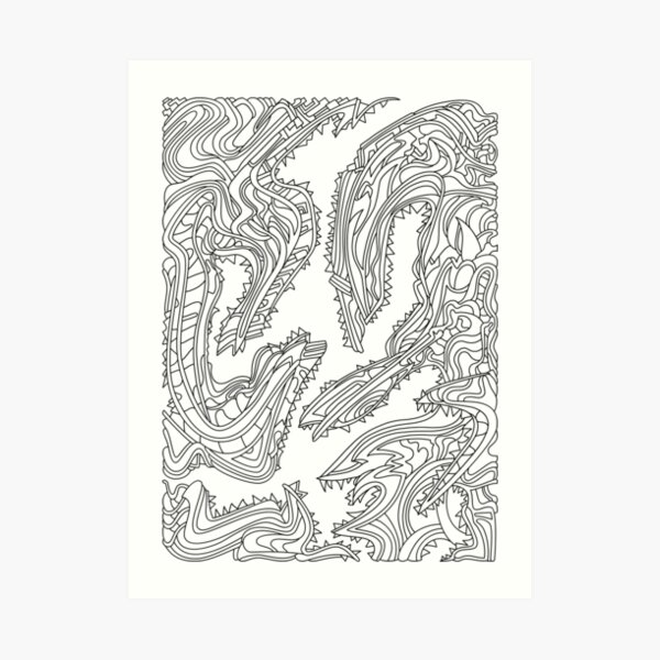 Wandering Abstract Line Art 26: Black & White Art Print