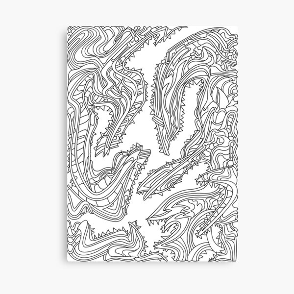 Wandering Abstract Line Art 26: Black & White Canvas Print
