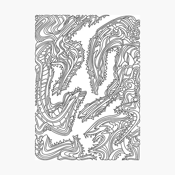 Wandering Abstract Line Art 26: Black & White Photographic Print