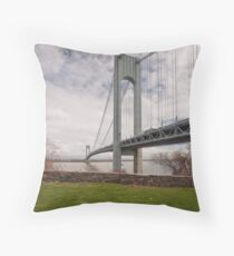 Verrazano Narrows Bridge viewed from Fort Wadsworth on Staten Island. Throw Pillow