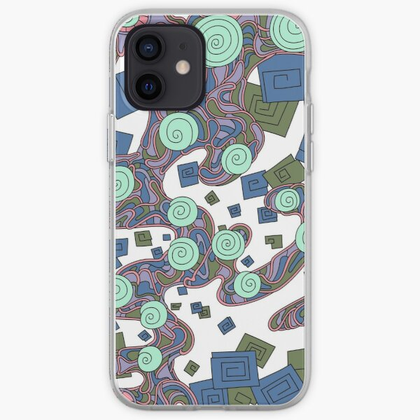 Wandering Abstract Line Art 29: Green iPhone Soft Case
