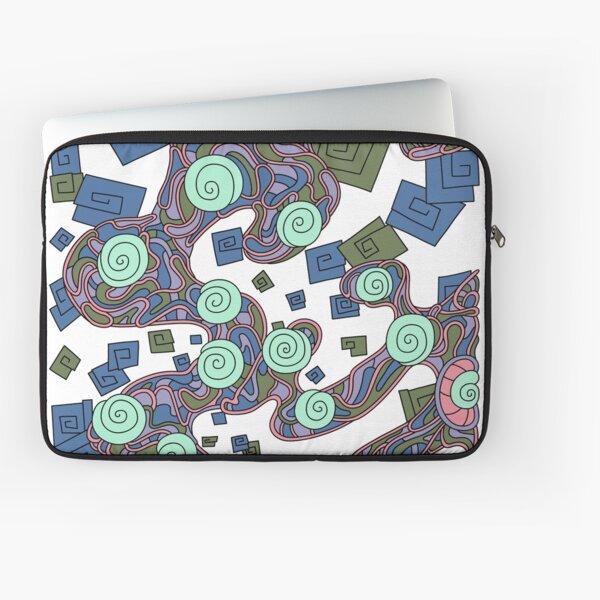 Wandering Abstract Line Art 29: Green Laptop Sleeve