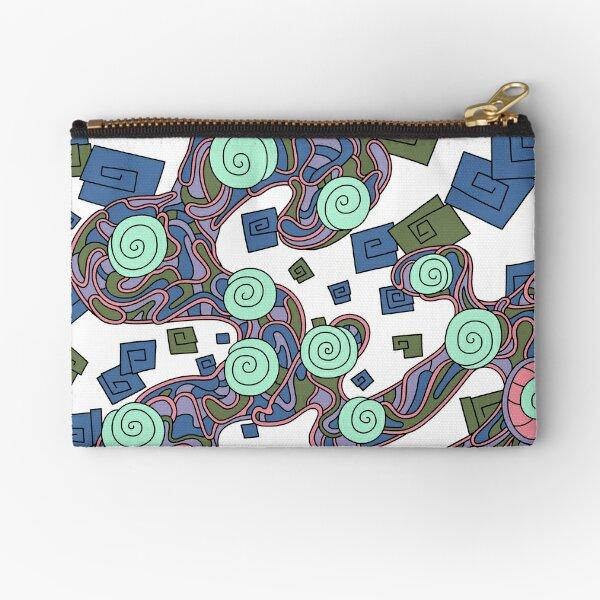 Wandering Abstract Line Art 29: Green Zipper Pouch