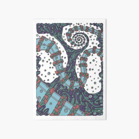 Wandering Abstract Line Art 02: Blue Art Board Print