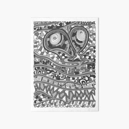 Wandering Abstract Line Art 03: Grayscale Art Board Print