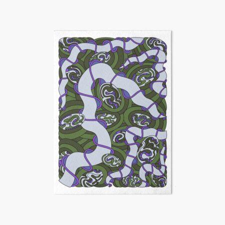 Wandering Abstract Line Art 04: Green Art Board Print