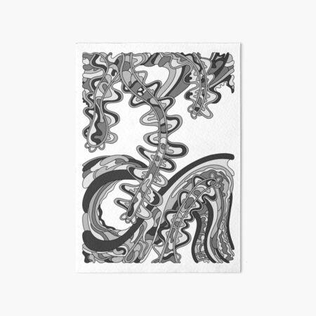 Wandering Abstract Line Art 07: Grayscale Art Board Print