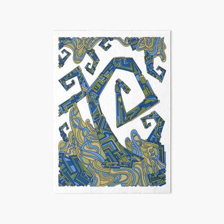 Wandering Abstract Line Art 08: Green Art Board Print