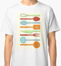 Kitchen Utensil Colored Silhouettes on Cream II Classic T-Shirt