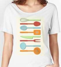 Kitchen Utensil Colored Silhouettes on Cream II Women's Relaxed Fit T-Shirt