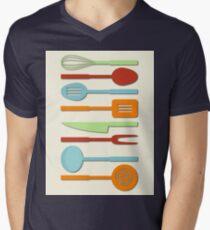 Kitchen Utensil Colored Silhouettes on Cream II Mens V-Neck T-Shirt