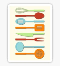 Kitchen Utensil Colored Silhouettes on Cream II Sticker